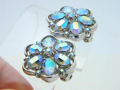 VTG CROWN TRIFARI Silver Tone Blue Aurora Borealis Rhinestone Clip Earrings