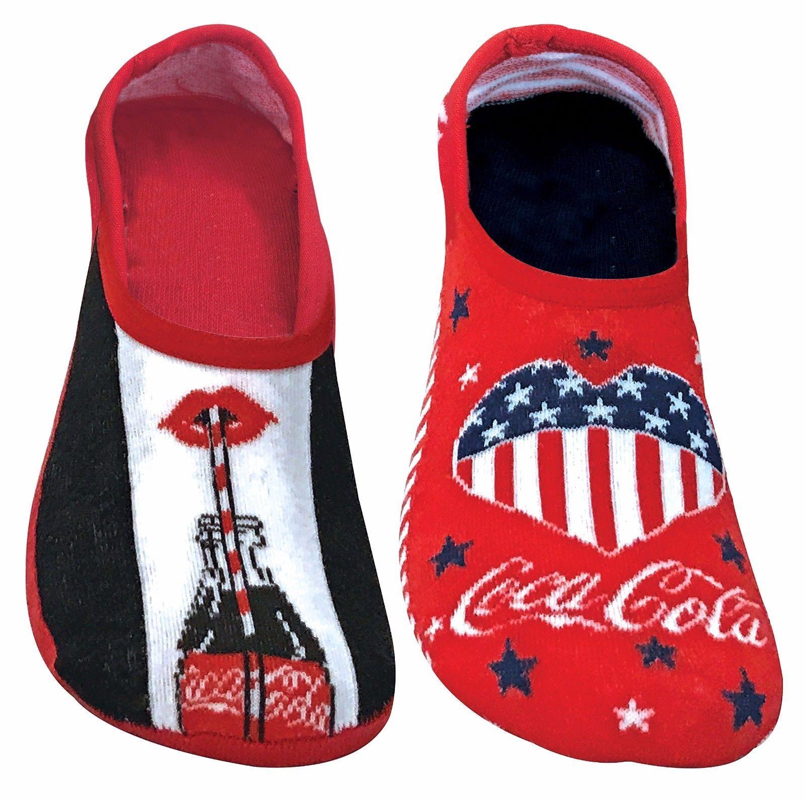 Coca Cola - 2 Paia Donna Disegni Morbidi Cotone Colorati Invisible Calzini