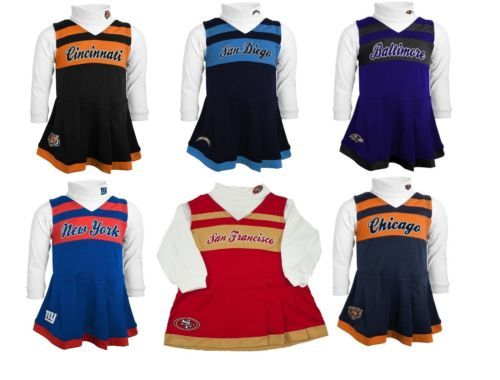NFL Girl's 4-6x Cheerleader Dress 2-Piece Jumper Turtleneck Cheer Outfit #1 NEW