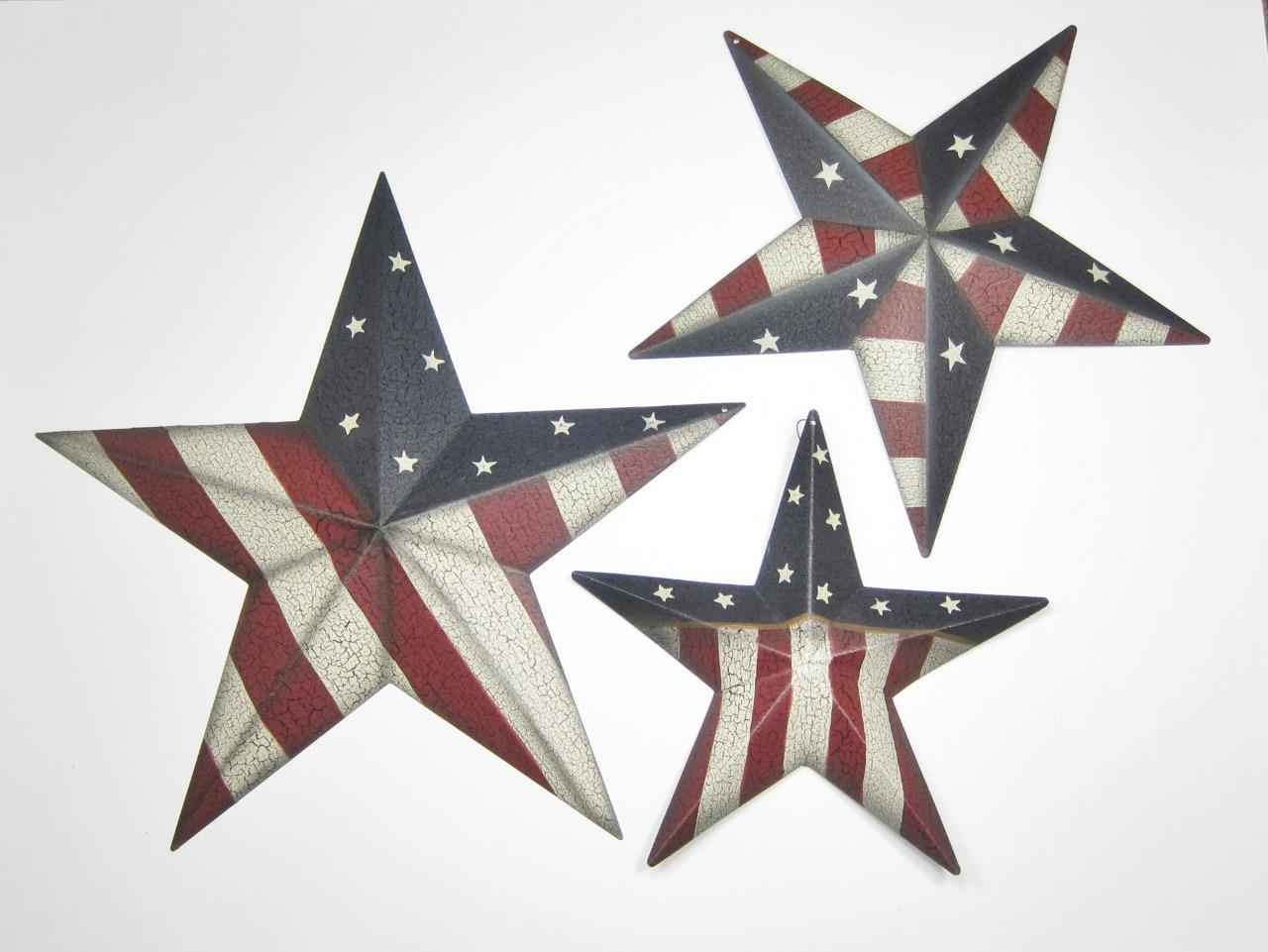 Primary image for Patriotic Americana Stars with Stars & Stripes Set of 3 Grad Sizes Wall Decor
