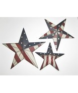 Patriotic Americana Stars with Stars & Stripes Set of 3 Grad Sizes Wall ... - $37.57