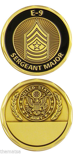 ARMY SERGEANT MAJOR E-9 ENGRAVABLE MILITARY LOGO  BLACK BRONZE CHALLENGE COIN