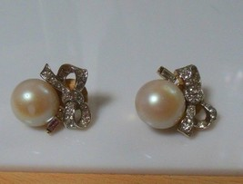Vintage Signed Nina Ricci Faux Pearl & Rhinestone Bow Clip-on Earrings  - $34.65