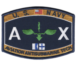 """4.5"""" NAVY AX AVIATION RATING ANTISUBMARINE TECH EMBROIDERED PATCH - $23.74"""