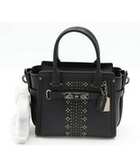 Coach Bandana Rivets Swagger 21 Black Glovetanned Leather Satchel Bag 55524 - $319.82