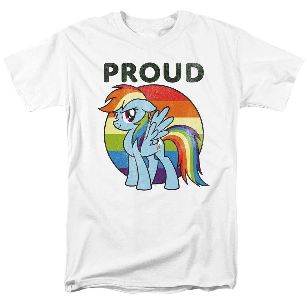 My little pony pride t shirt rainbow dash graphic printed cotton white tee 2