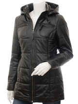 QASTAN Women's Icy Winter Gorgeous Luxury Black Hood Leather Quilted Coa... - $177.21+