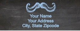 Mustache Chalkboard Return Address Labels Custom Personalized - $4.95