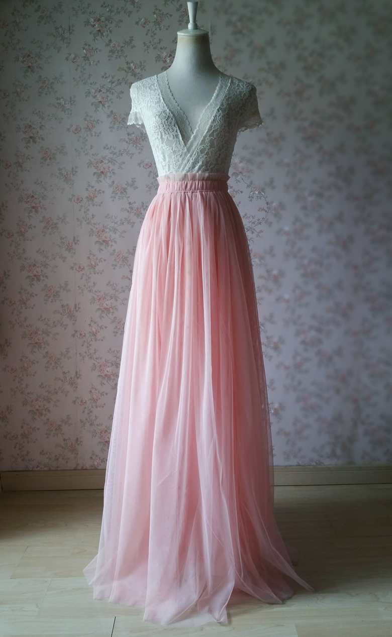 Coral Pink Tulle Skirt Bridesmaids Long Tulle Skirt High Waisted Coral Wedding