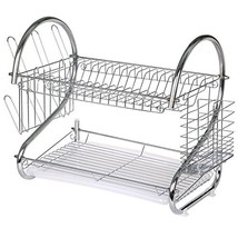 TRIXES Chrome Plated 2 Tier Kitchen Drying Rack Dishes Plates Bowls Mugs... - $25.99