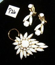 White Glass Brooch Pin/Clip-On Earring Set-P26 - $14.00