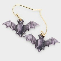 Black and Purple Bat Halloween Fun Fashion Stylish Trendy Modern Dangle ... - $17.82