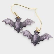 Black and Purple Bat Halloween Fun Fashion Stylish Trendy Modern Dangle Earrings - $17.82