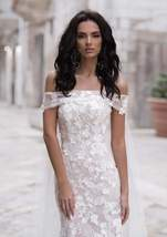 Sexy Off Shoulder Embroidered Lace Mermaid Wedding Gown with Court Train image 3