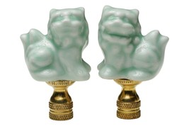 "Pair of Green Celadon Porcelain Foo Dog Table Lamp Finial 2.75"" - $39.59"