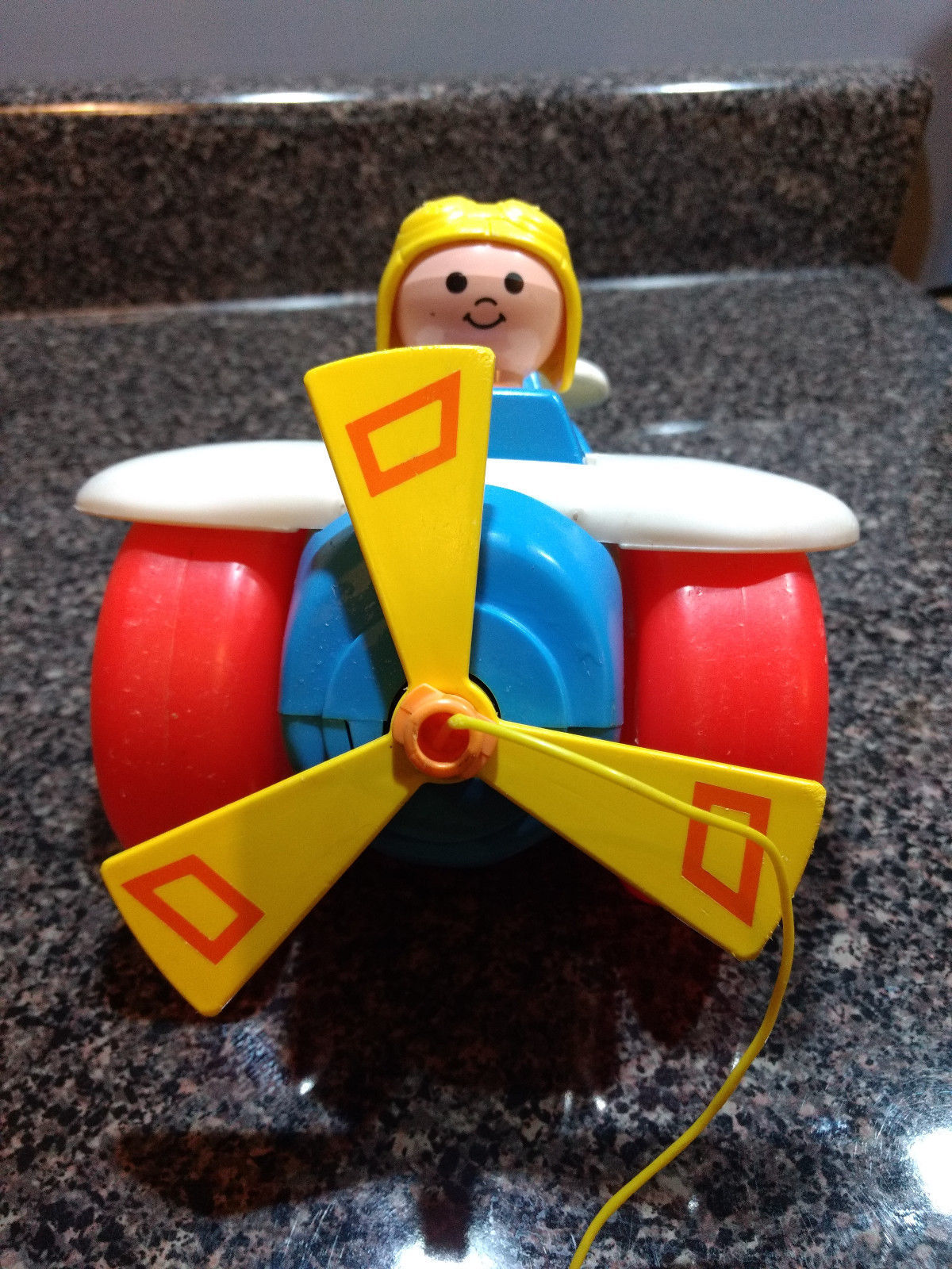 Vintage 1980 Fisher Price Airplane Plane ✈️ Pull Along Toy Toddler Children's