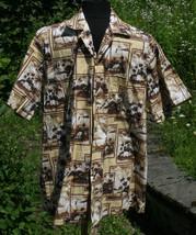 Hawaiian Shirt L Hawaii Beach Vtg Cars Button Front Brown Mens Kim Fashi... - $24.19