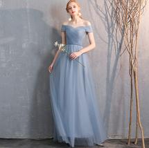 Bridesmaid Dress Off Shoulder Sweetheart Tulle Empire Dress Floor Length Wedding image 6