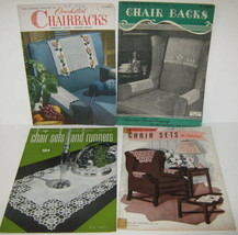 Vtg 4 Book Lot Crochet Chair Backs Sets 1938-1949 Runners Church Laces P... - $6.43
