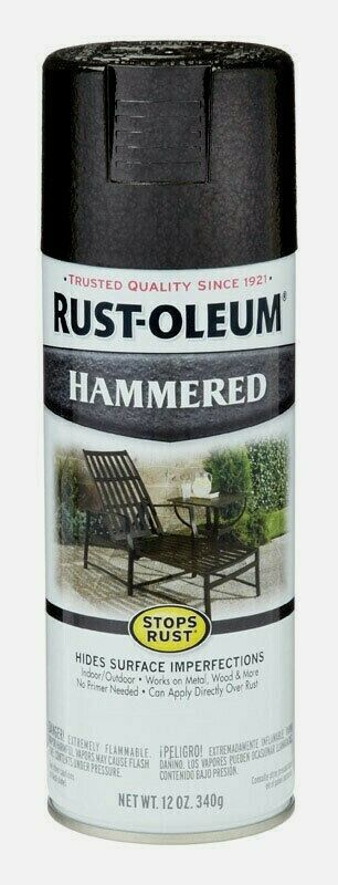 Primary image for Rust-Oleum HAMMERED Spray 12 oz BLACK Stops Rust Hide Imperfections 7215-830 NEW