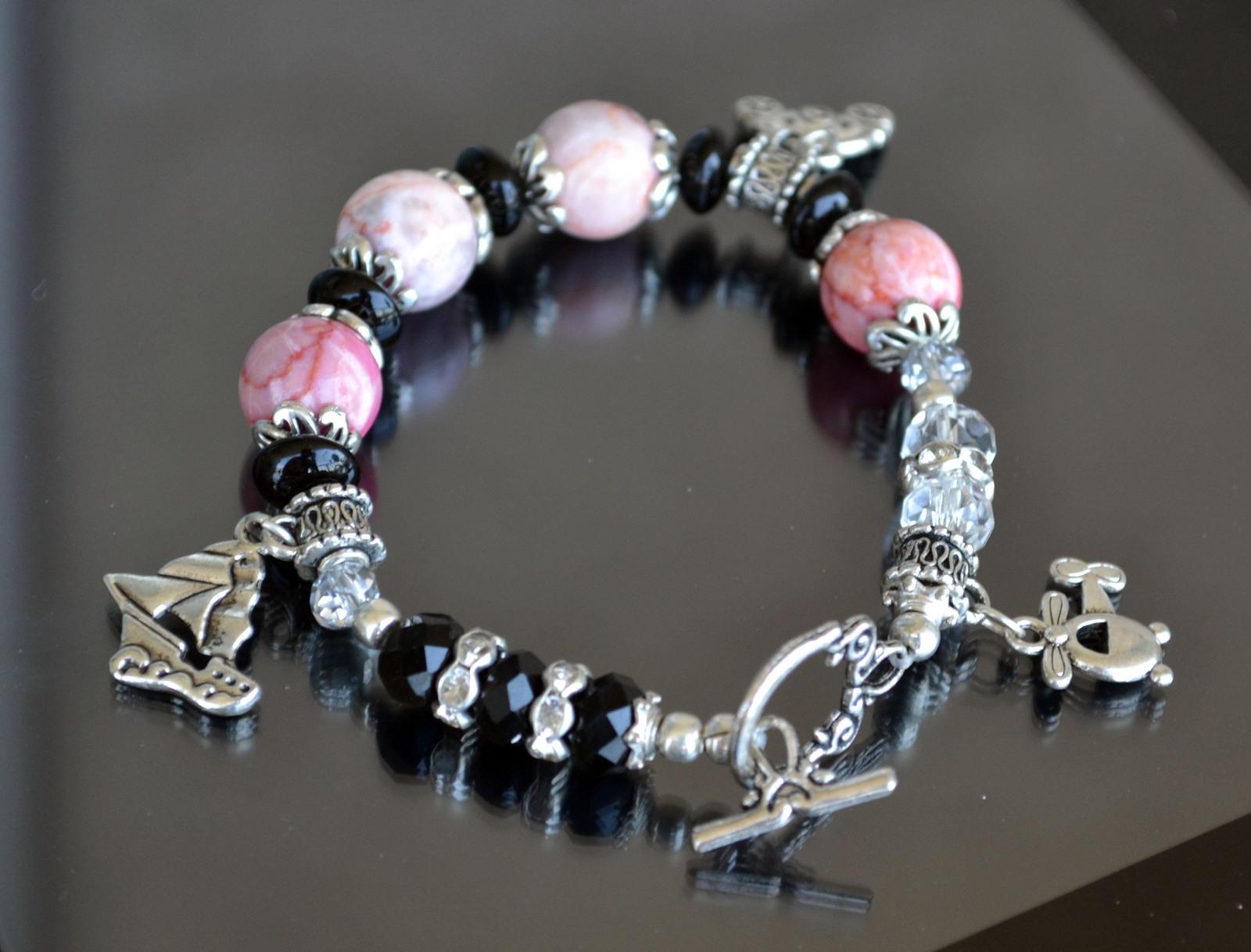 Bracelet, Gemstone bracelet, Statement bracelet, pink (B13) image 3