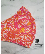 Upcycle Lilly Cotton Face Mask Pink Orange Palm Beach Design Fabric Hand... - $13.50