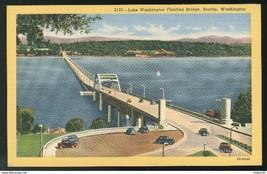Seattle WA Lake Washington Floating Bridge Vintage Curteich 1942 Linen P... - $5.50