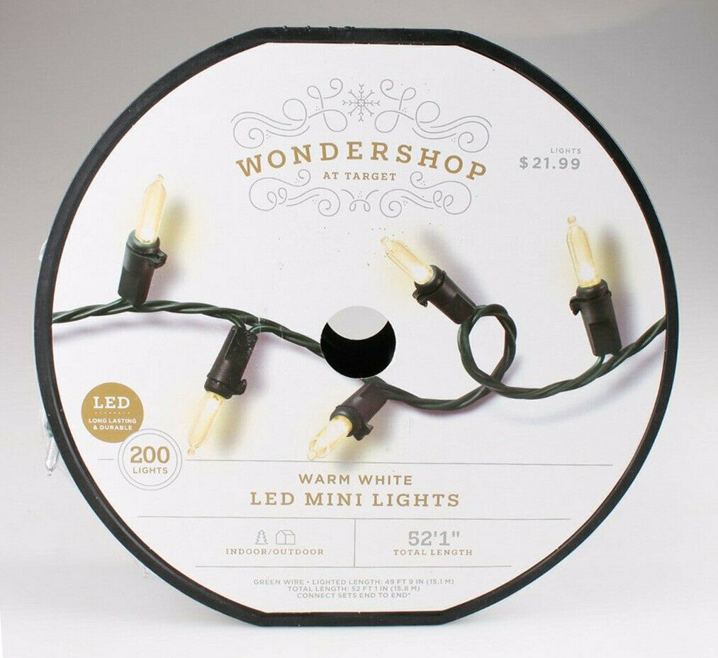 "Spool of 200 Warm White Smooth LED Mini String Lights 52'1"" Wondershop NEW"