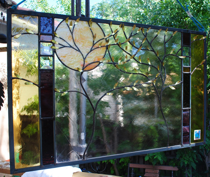 """Stained Glass Window Panel personalized wedding anniversary family tree 28"""" wide"""