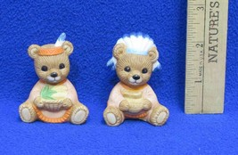 Homco Teddy Bear Figurines Thanksgiving Indian Boy & Girl 5312 Ceramic Lot of 2 - $5.93