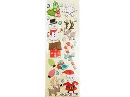 K&Company Dimensional Chipboard Christmas Stickers, Santa, House, Reindeer