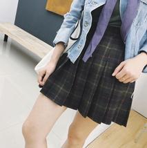 Winter Plaid Pleated Skirt Women Girls Plus Size Wool Pleated Plaid Skirt Yellow image 10