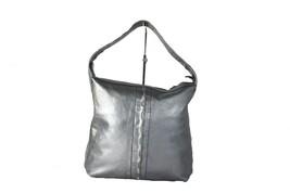 Auth SALVATORE FERRAGAMO Ganchini Logo Silver Gray Leather Shoulder Bag ... - $147.51