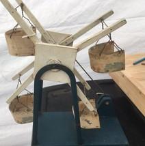 Primitive Antique Wood Crank Toy Ferris Wheel 4 Seats Folk Art Blue And ... - $91.72