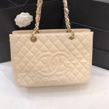 AUTHENTIC CHANEL QUILTED CAVIAR GST GRAND SHOPPING TOTE BAG BEIGE GHW image 1