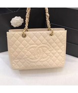 AUTHENTIC CHANEL QUILTED CAVIAR GST GRAND SHOPPING TOTE BAG BEIGE GHW - $1,999.99