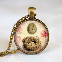 BIRD NEST Pendant Necklace Speckled Egg, Vintage Bird Egg, Nature Jewelry, Woodl - $12.95