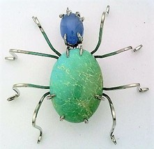 Turquoise Spider Stainless Steel Wire Wrap Brooch 16 - $28.97