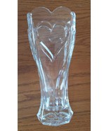 Heart Top Vase Clear Glass Scalloped Top with Raised Design - $14.99