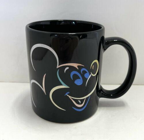Disney Mickey Mouse Coffee Mug Cup Black With Multicolor Mickey - $19.79