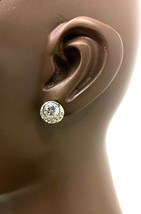 """7/16"""" Drop Solitaire Stud Earrings By Lovely Clear Crystals, Bridal, Gold Tone - $9.98"""