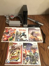 Nintendo Wii Black Console System W/ 5 Games Controller & Cords Mario Tested - $98.99
