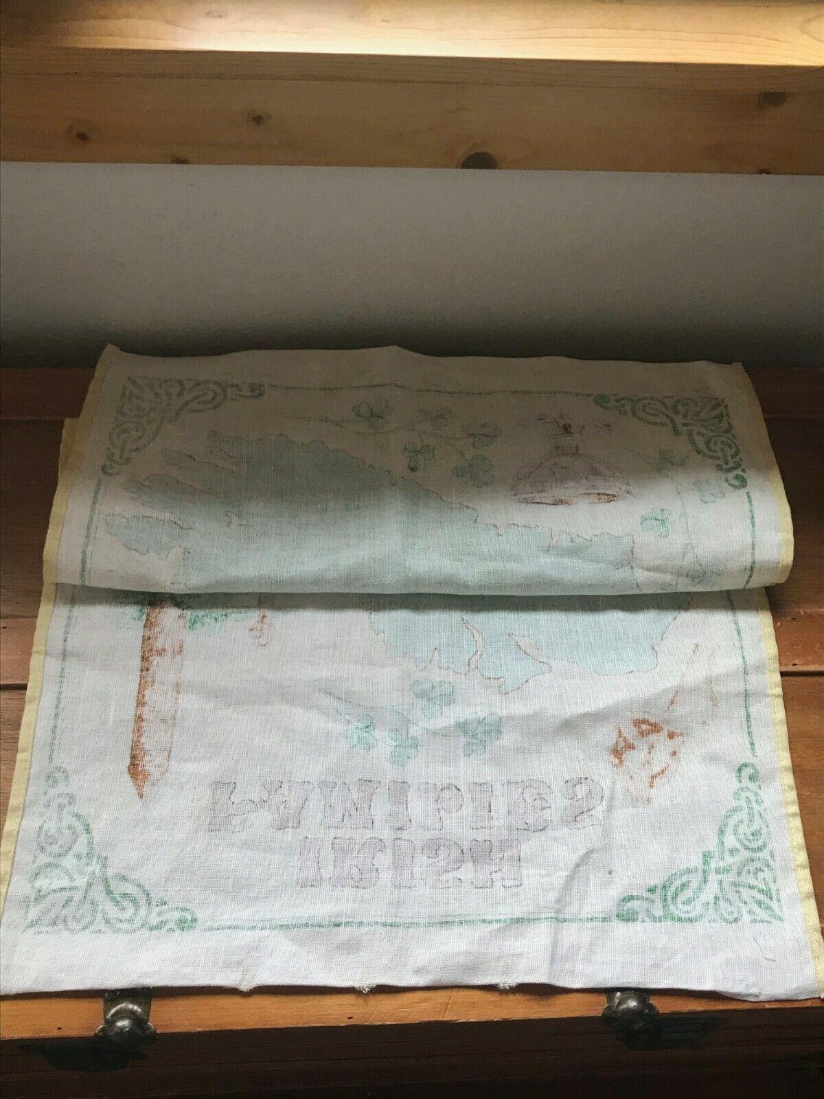 Gently Used Linen Union IRISH Families Yellow & Green Kitchen Towel Wall Hanging image 5