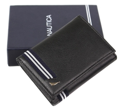 Nautica Men's Genuine Leather Credit Card Id Holder Trifold Wallet image 10