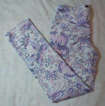 Childrens Place Girls Jegging Pants Size 14 White Butterfly Purple Spring Summer - $17.81