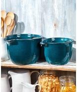Pouring Bowls Batter Bowl Handle Spout Kitchen Cookware Stoneware Mix Se... - $42.49