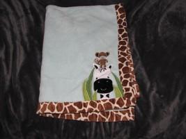 "Lambs & Ivy Peek A Boo Jungle Monkey Giraffe Zebra Plush Baby Blanket 30""x40"" - $29.67"