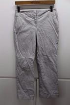W13441 Women Ann Taylor Loft Black/White Striped Boot Cut Slacks Pants 4P Petite - $28.92