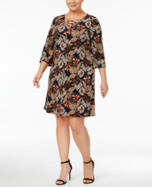 Primary image for Jessica Howard Plus Size Printed Lace-Up Dress, size 16W