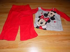 Size 18 Months Disney Minnie & Mickey Mouse 2 Piece Sleepwear Set Pajamas Red  - $12.00